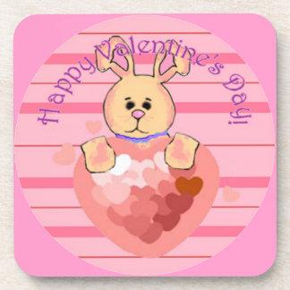 Valentines Day Bunny Drink Coaster