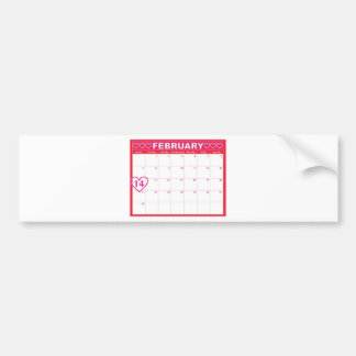 Valentines Day Calendar Bumper Sticker