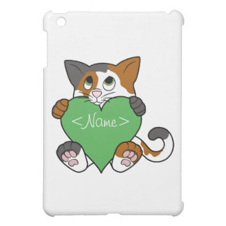 Valentine's Day Calico Cat with Green Heart iPad Mini Cover