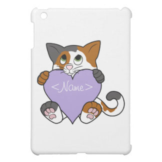 Valentine's Day Calico Cat with Light Purple Heart Case For The iPad Mini