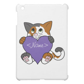 Valentine's Day Calico Cat with Purple Heart iPad Mini Cases