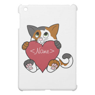 Valentine's Day Calico Cat with Red Heart iPad Mini Covers