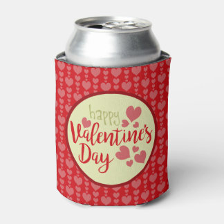 Valentine's Day Can Cooler Red and Pink Hearts