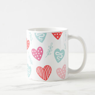 Valentine's Day Candy Hearts Red Pink Pattern Coffee Mug