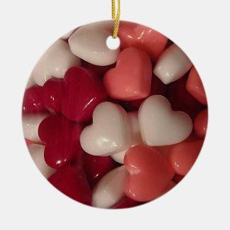 Valentine's Day Candy Hearts Round Ceramic Decoration