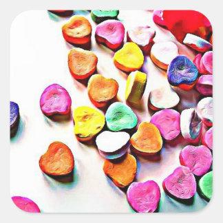 Valentine's Day Candy Hearts Square Sticker