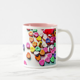 Valentine's Day Candy Hearts Two-Tone Mug