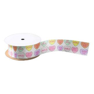 Valentine's Day Candy Hearts Valentine Ribbon Satin Ribbon