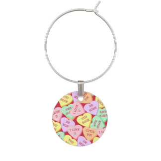 Valentine's Day Candy Hearts Wine Charm