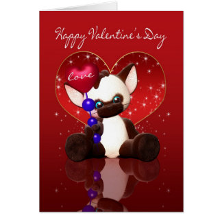 Valentine's Day Card - Cute Siamese Cat