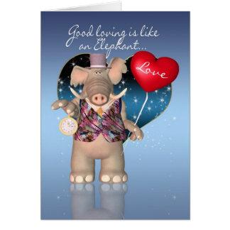 Valentine's Day Card - Humorous - Elephant Valenti