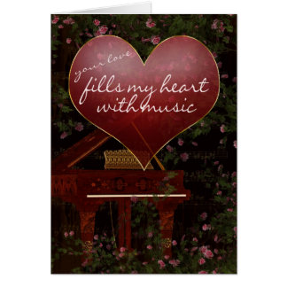 Valentine's Day Card - Piano, Music, Roses