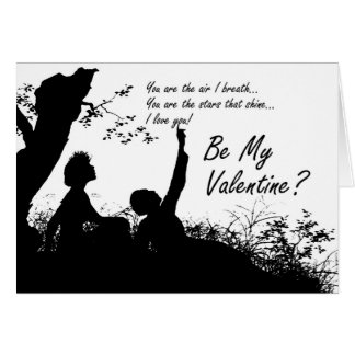 Valentine's Day Card - Silhouette Couple In Love
