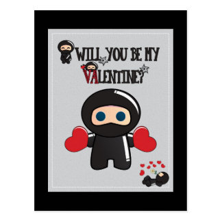 Valentine's Day Card with Cute Ninja Characters