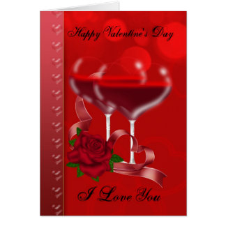 Valentine's Day Card With Heart Shaped Red Wine