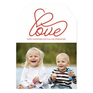 Valentine's Day Card with Love and Photo 13 Cm X 18 Cm Invitation Card