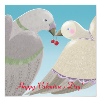 Valentine's Day card with two doves and cherries