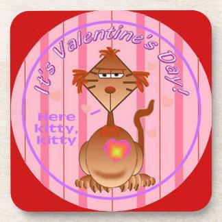 Valentines Day Cat Drink Coaster