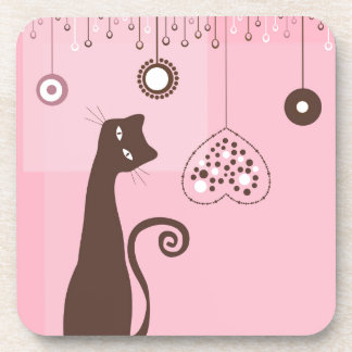 Valentine's Day Cat Drink Coasters