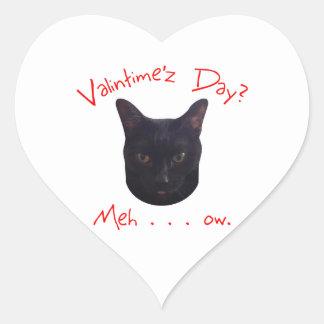 Valentine's Day Cat Meh Heart Sticker
