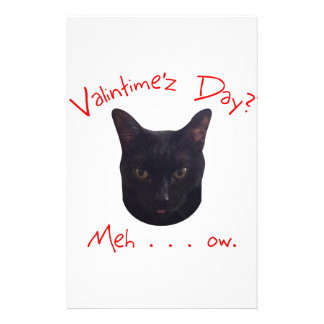 Valentine's Day Cat Meh Stationery Design