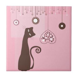 Valentine's Day Cat Small Square Tile