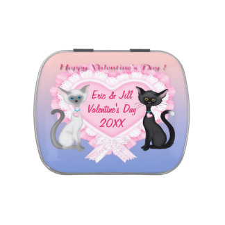 Valentine's Day Cats Rectangle Candy Tin