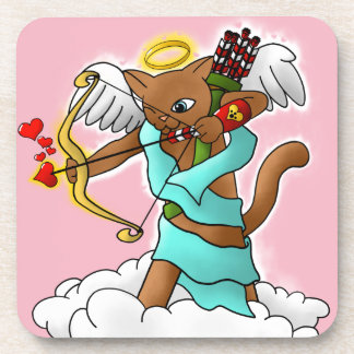 Valentine's Day Chocolate Brown Cupid Cat Coaster