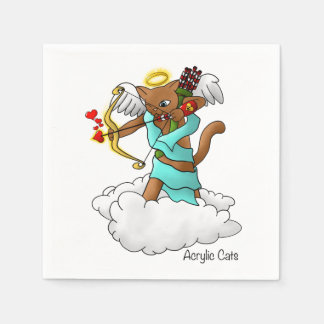 Valentine's Day Chocolate Brown Cupid Cat Disposable Napkin