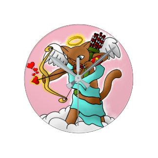 Valentine's Day Chocolate Brown Cupid Cat Round Clock