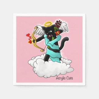 Valentine's Day Coal Black Cupid Cat Disposable Napkins