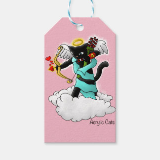 Valentine's Day Coal Black Cupid Cat Gift Tags