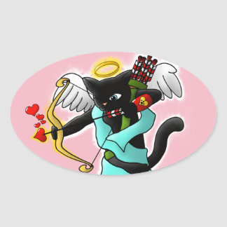 Valentine's Day Coal Black Cupid Cat Oval Sticker
