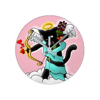 Valentine's Day Coal Black Cupid Cat Round Clock