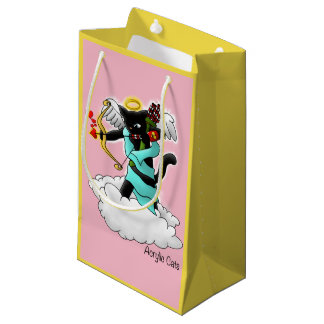 Valentine's Day Coal Black Cupid Cat Small Gift Bag