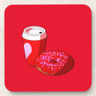 Valentine's Day Coffee and Donuts Beverage Coasters
