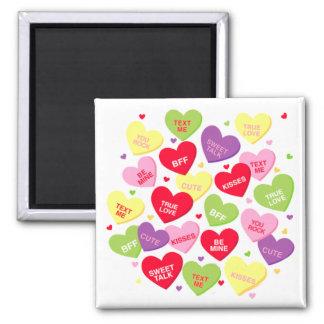 Valentine's Day conversation heart candies magnet