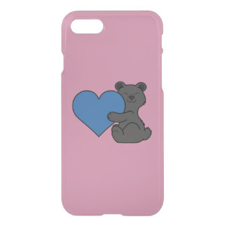 Valentine's Day Cute Black Bear with Blue Heart iPhone 7 Case