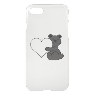 Valentine's Day Cute Black Bear with Cream Heart iPhone 7 Case