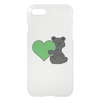 Valentine's Day Cute Black Bear with Green Heart iPhone 7 Case
