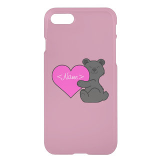 Valentine's Day Cute Black Bear with Pink Heart iPhone 7 Case