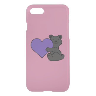 Valentine's Day Cute Black Bear with Purple Heart iPhone 7 Case