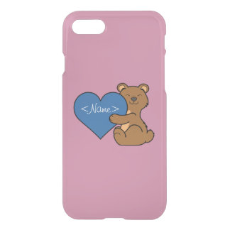Valentine's Day Cute Brown Bear with Blue Heart iPhone 7 Case