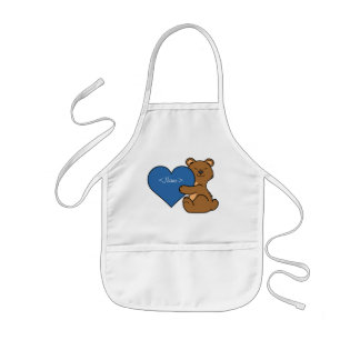 Valentine's Day Cute Brown Bear with Blue Heart Kids Apron