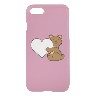Valentine's Day Cute Brown Bear with Cream Heart iPhone 7 Case