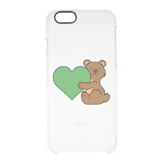 Valentine's Day Cute Brown Bear with Green Heart Clear iPhone 6/6S Case