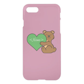 Valentine's Day Cute Brown Bear with Green Heart iPhone 7 Case