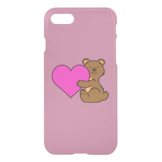 Valentine's Day Cute Brown Bear with Pink Heart iPhone 7 Case