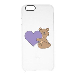 Valentine's Day Cute Brown Bear with Purple Heart