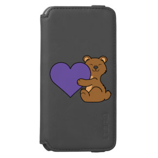Valentine's Day Cute Brown Bear with Purple Heart Incipio Watson™ iPhone 6 Wallet Case